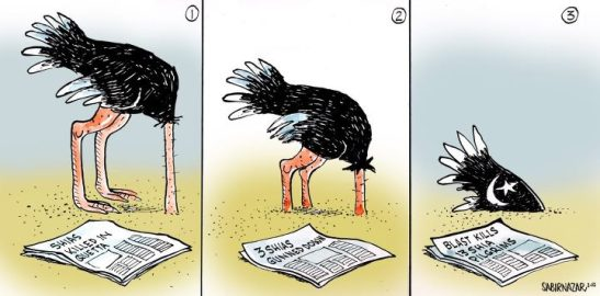 Sabir Nazar's cartoon: Societal apathy on Shia genocide in Pakistan